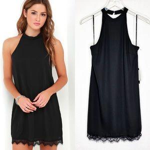 NWT Lulu's Lace trim Halter Dress